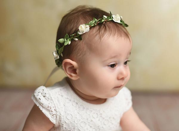 Boho Flower Girl Crown Ivory First Communion Baby Hair Accessories